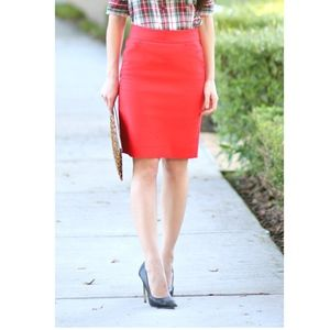 NWT J. Crew Red Pencil Skirt